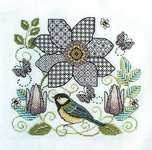 Click for more details of Clematis Flower and Great Tit (blackwork) by Lesley Teare