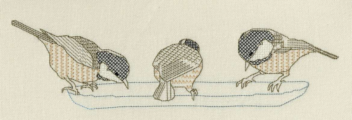 Click for more details of Coal Tits (blackwork) by Anne Peden