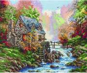Click for more details of Cobblestone Mill (cross-stitch kit) by Thomas Kinkade