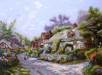 Click for more details of Cobblestone Village (cross-stitch) by Thomas Kinkade