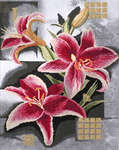 Click for more details of Composition of Pink Lilies (cross-stitch kit) by Lanarte