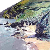 Click for more details of Cornish Cove (oil on canvas) by Shirley Rothwell