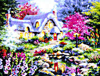 Click for more details of Cottage Pond (cross stitch) by Kustom Krafts