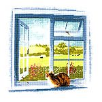 Click for more details of Cottage Window (cross-stitch kit) by John Clayton