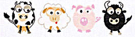 Click for more details of Cow - sheep - pig - bull (cross-stitch kit) by Lanarte