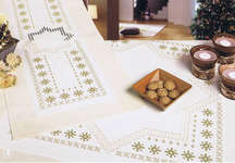 Click for more details of Cream Christmas Stars Table Runner and Cover (hardanger) by Rico Design