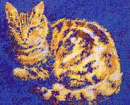 cat and books cross stitch