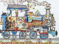 Click for more details of Cut Thru' Steam Train (cross-stitch) by Bothy Threads