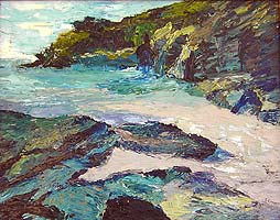 Click for more details of Devon Cove (oil on board) by Shirley Rothwell