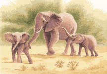 Click for more details of Elephants (cross-stitch kit) by John Clayton