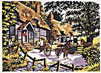 Click for more details of English House and Horses (cross-stitch) by Eva Rosenstand