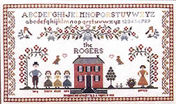 Click for more details of Family Sampler (cross stitch) by Pat Rogers