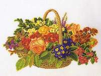 Click for more details of Flower Basket (cross stitch) by Eva Rosenstand