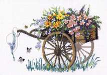 Click for more details of Flower Cart (cross-stitch kit) by Permin of Copenhagen