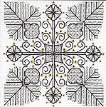 Click for more details of Flowers and Leaves (blackwork kit) by Leon Conrad