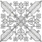 Click for more details of Flowers of Seville (blackwork kit) by Leon Conrad