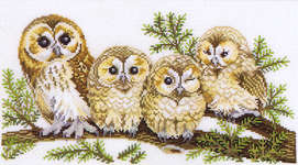 Click for more details of Four Owls (cross-stitch) by Eva Rosenstand