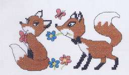 Click for more details of Fox Sweethearts (cross-stitch kit) by Permin of Copenhagen