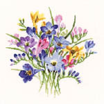 Click for more details of Freesia Posy (cross-stitch kit) by Valerie Pfeiffer