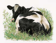 Click for more details of Fresian Cow Lying Down (cross-stitch) by Thea Gouverneur