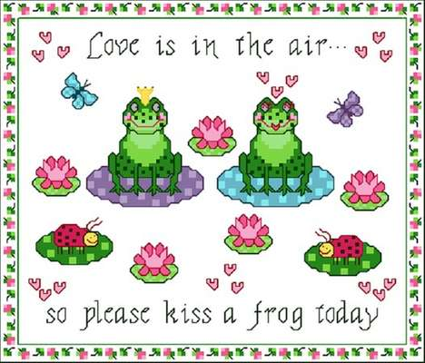 Click for more details of Froggie Love (cross-stitch pattern) by Designs by Cathy