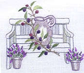Click for more details of Garden Bench with Olive Jar Table Runner (embroidery kit) by Rico Design