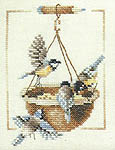 Click for more details of Garden Birds and Feeding Dish (cross-stitch kit) by Marjolein Bastin