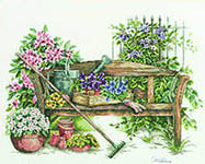 Click for more details of Gardener's Bench (cross-stitch kit) by Lanarte