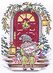 Click for more details of Girl on doorstep (cross-stitch kit) by Eva Rosenstand
