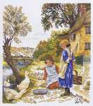 Click for more details of Girls with Geese (cross-stitch) by Eva Rosenstand
