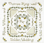 Click for more details of Golden Wedding Anniversary Sampler (hardanger) by Patricia Bage