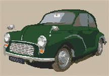 Click for more details of Green Morris Minor (cross-stitch kit) by Stitchtastic