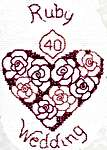 Click for more details of Greetings Card Ruby Wedding (cross-stitch) by Rose Swalwell