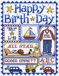 Click for more details of Happy Birth Day for boys ! (cross-stitch pattern) by Sue Hillis Designs