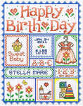 Click for more details of Happy Birth Day for girls! (cross-stitch pattern) by Sue Hillis Designs