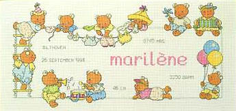 Click for more details of Happy Friends - Birth Sampler (cross-stitch kit) by Permin of Copenhagen