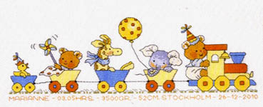 Click for more details of Happy Friends Rolling Along (cross-stitch kit) by Permin of Copenhagen