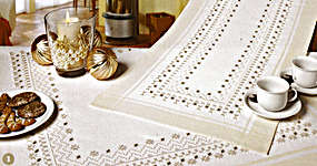 Click for more details of Hardanger 42 - Small Christmas Stars Table Toppers (hardanger pattern) by Rico Design