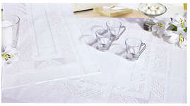 Click for more details of Hardanger 45 - Pure White Table Topper and Pillows (hardanger pattern) by Rico Design