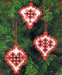 Click for more details of Hardanger Red and White Christmas Tree Baubles (hardanger) by Permin of Copenhagen
