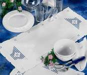 Hardanger Table Mats - Satin Stitch Tulips in Openwork Bowls - hardanger kit by Permin of Copenhagen