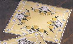 Click for more details of Hardanger Table Mats - Tulips in Openwork Baskets (hardanger) by Permin of Copenhagen