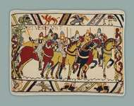 "Click for more details of Hastings ""William Rides to War"" (tapestry) by Glorafilia"