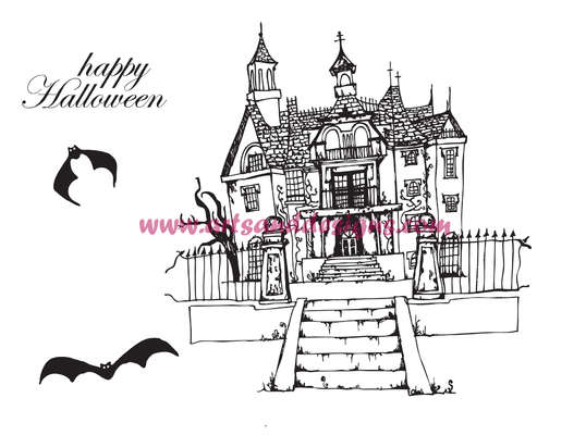 Click for more details of Haunted House Digital Stamp (digital downloads) by Julie Lynes