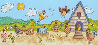 Click for more details of Hen Fun (cross-stitch kit) by Bothy Threads