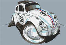 Click for more details of Herbie VW Beetle Caricature (cross stitch) by Stitchtastic