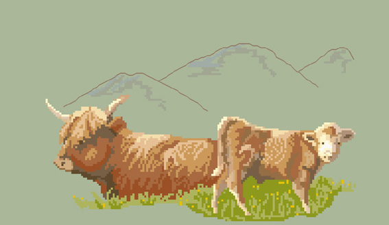Click for more details of Highland Cow with calf (cross-stitch pattern) by Anne Peden