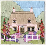 Click for more details of Hollyhock Cottage (long-stitch) by Rose Swalwell