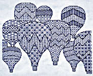 Click for more details of Hot Air Balloons (blackwork kit) by Classic Embroidery