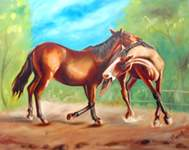 Click for more details of HOT MATING IN COOL JUNGLE (oil on board) by ragunath